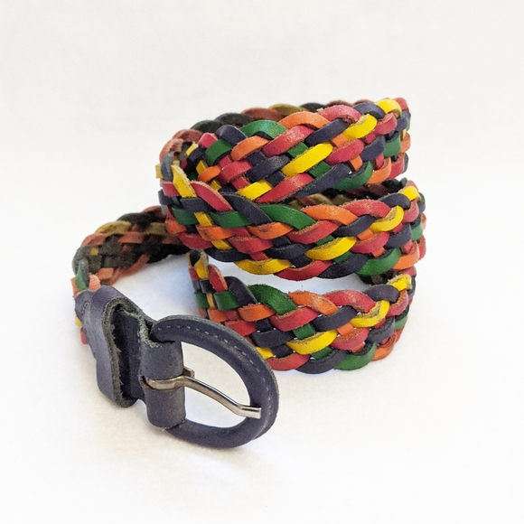 Vintage Accessories - Vtg 90s Braided Rainbow Leather Belt